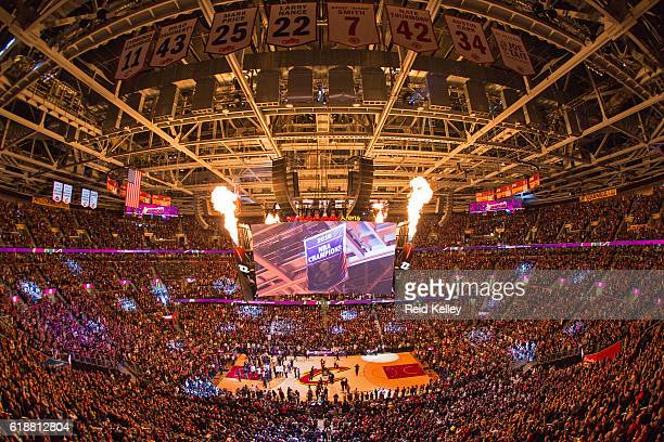 A general view of The Quicken Loans Arena before the New York Knicks play against the Cleveland Cavaliers on October 25 2016 in Cleveland Ohio NOTE...