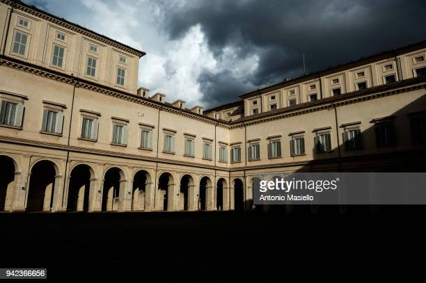 A general view of the Quirinale Palace after the second day of consultations of political parties for the formation of the new government on April 5...