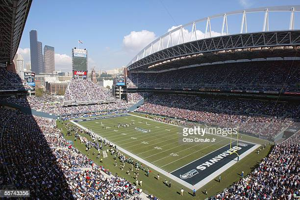 General view of the Qwest Field Stadium during a game bewteen the Atlanta Falcons and the Seattle Seahawks on September 18, 2005 in Seattle,...