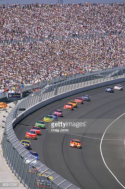 General view of the race action during the California 500 at the California Speedway on June 22 1997 in Fontana California