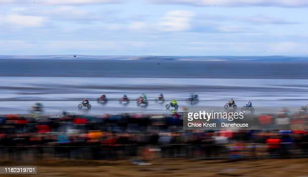 A general view of the race during the Adult Solo race during day two of the Weston Beach Race on October 20 2019 in WestonSuperMare England