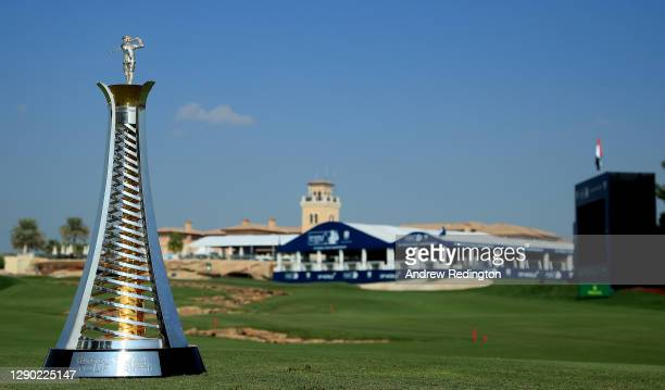 General view of the Race To Dubai trophy and 18th hole and clubhouse during practice for the DP World Tour Championship at Jumeirah Golf Estates on...