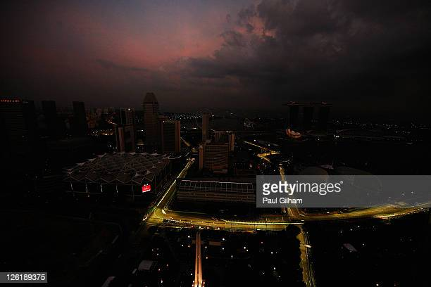 General view of the race track and city skyline during practice for the Singapore Formula One Grand Prix at the Marina Bay Street Circuit on...