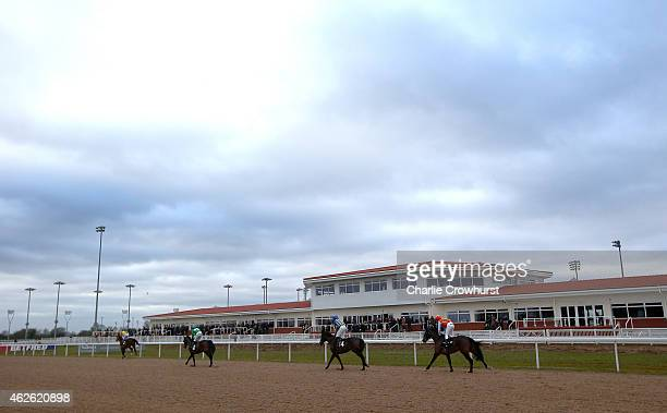 A general view of the racecourse and the main grandstand at Chelmsford City racecourse on February 01 2015 in Chelmsford England