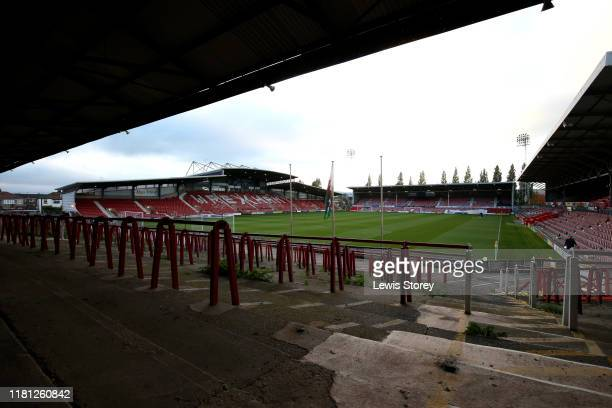 General View of the Racecourse Ground ahead of the Vanarama National League match between Wrexham and Chesterfield at the Racecourse Ground on...