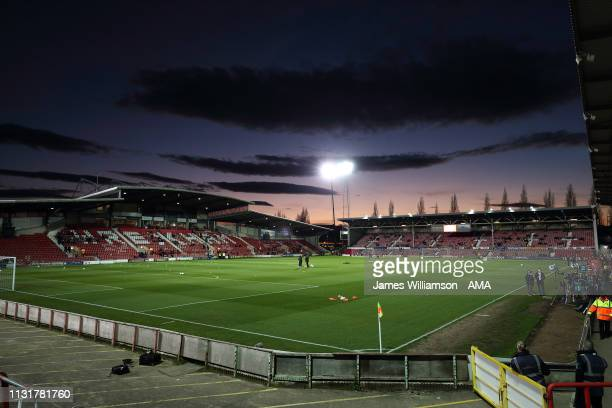 A general view of the Racecourse Ground during the International Friendly between Wales and Trinidad and Tobago at Racecourse Ground on March 20 2019...