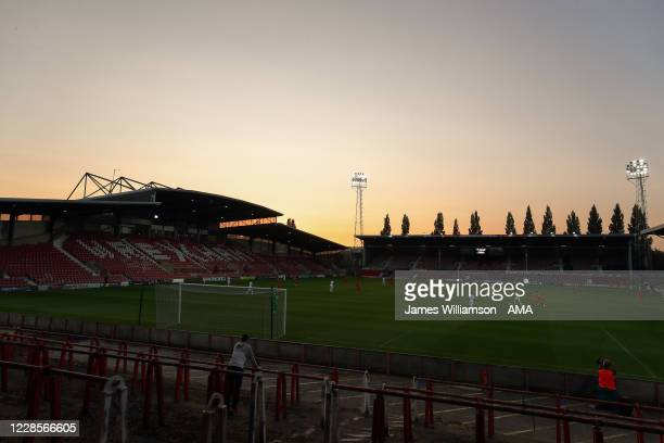 General view of the Racecourse Ground home stadium of Wrexham AFC during the UEFA Europa League second qualifying round match between Connahs Quay...