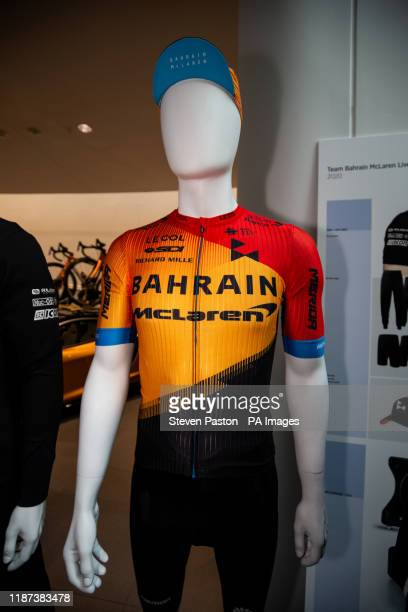 General view of the racing clothing on display during a team launch at the McLaren Technology Centre Woking