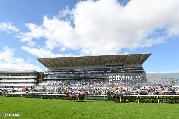 General view of the racing during the British Stallion Studs EBF Conditions Stakes during the St Ledger Festival at Doncaster Racecourse on September...