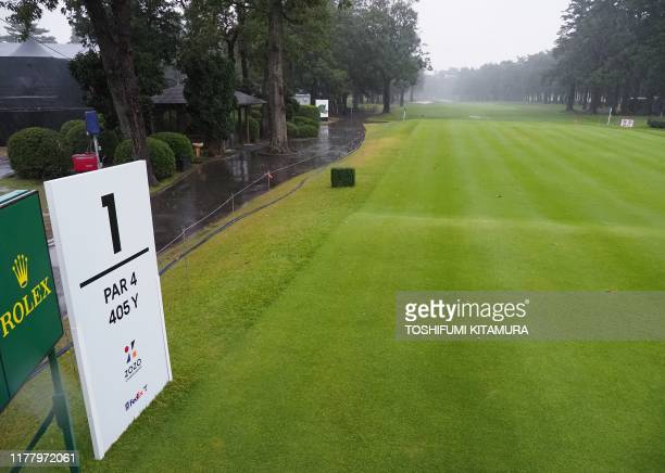 General view of the rain falling first hole tee ground of the PGA ZOZO Championship golf tournament at the Narashino Country Club in Inzai Chiba...