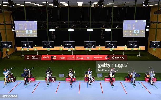 A general view of the range in the Womens 10m Air Rifle during day four of the Baku 2015 European Games at Baku Shooting Centre on June 16 2015 in...