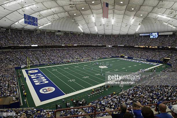 A general view of the RCA Dome as the Indianspolis Colts take on the Tennessee Titans on September 14 2003 in Indianapolis Indiana The Colts defeated...