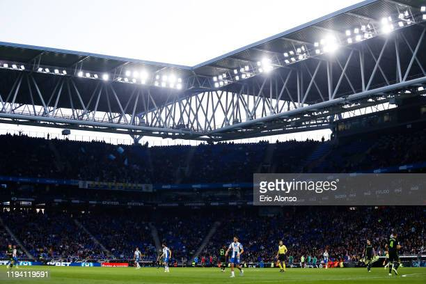 A general view of the RCD Stadium during the La Liga match between RCD Espanyol and Real Betis Balompie at RCDE Stadium on December 15 2019 in...