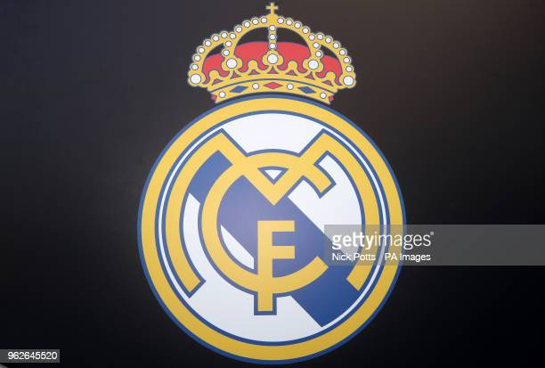 A general view of the Real Madrid logo during the UEFA Champions League Final at the NSK Olimpiyskiy Stadium Kiev