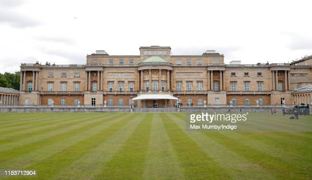 General view of the rear and west terrace of Buckingham Palace and garden ahead of the Ceremonial Welcome for U.S. President Donald Trump on day 1 of...