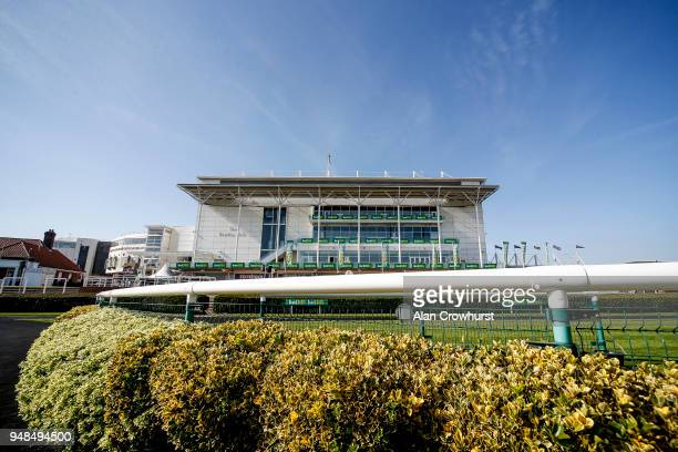 A general view of the rear of the grandstand at Newmarket racecourse on April 19 2018 in Newmarket England