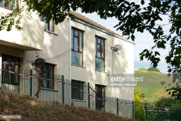 A general view of the rear of the property on Long Row where child killer David Gaut was found dead on August 8 2018 in New Tredegar Wales Police...