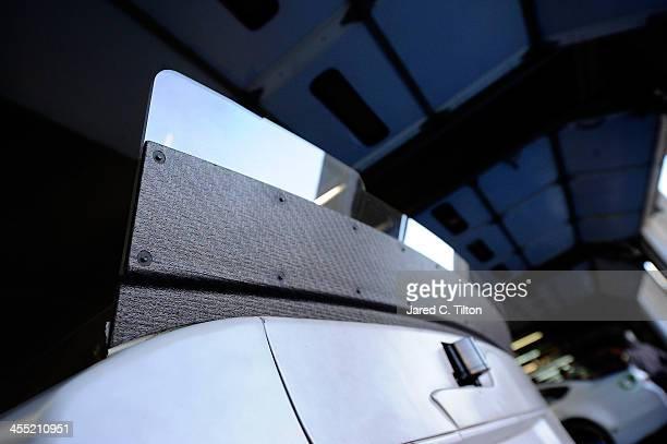 A general view of the rear spoilers that were used during testing at Charlotte Motor Speedway on December 11 2013 in Charlotte North Carolina
