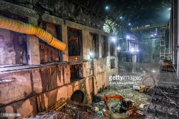 General view of the recovered powerhouse of Hidroituango Hydroelectric Project seen as construction of the dam continues, near the municipality of...
