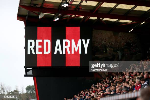 General view of the Red Army fans during the Premier League match between AFC Bournemouth and Manchester City at Vitality Stadium on March 02, 2019...