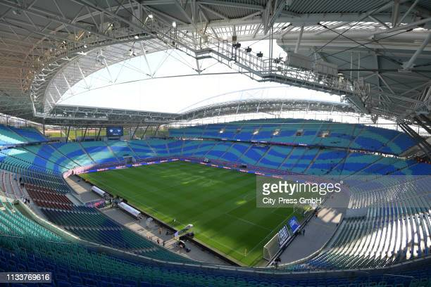 General view of the Red Bull Arena before the game between RB Leipzig and Hertha BSC at the Red Bull Arena on march 30, 2019 in Leipzig, Germany.