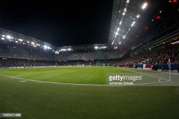 General view of the Red Bull Arena during the UEFA Europa League match between FC Salzburg and Rosenborg at Red Bull Arena on October 25, 2018 in...