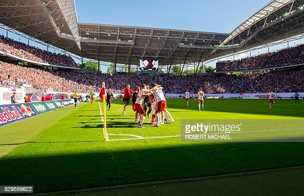 A general view of the Red Bull Arena football stadium during the German second division Bundesliga football match between RB Leipzig and Karlsruher...