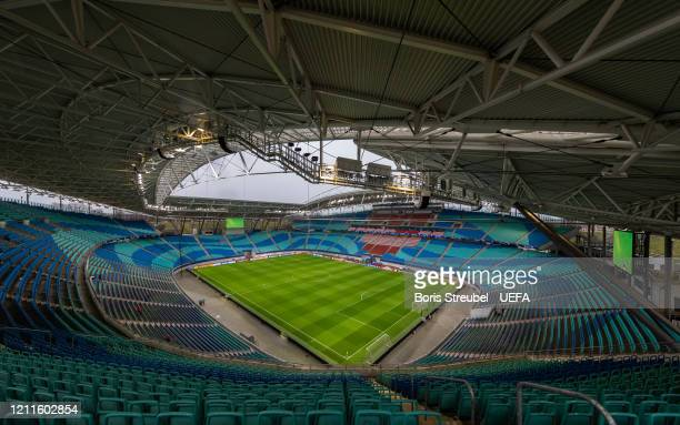 General view of the Red Bull Arena prior to the UEFA Champions League round of 16 second leg match between RB Leipzig and Tottenham Hotspur at Red...