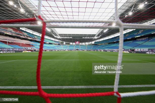 General view of the Red Bull Arena seen prior to the Bundesliga match between RB Leipzig and Fortuna Duesseldorf at Red Bull Arena on June 17, 2020...
