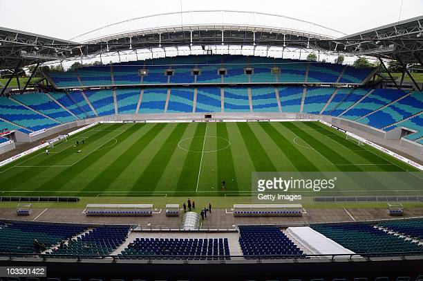 General view of the Red Bull Arena taken before the Regionalligamatch match between RB Leipzig and Tuerkiyemspor Berlin at the Red Bull arena on...