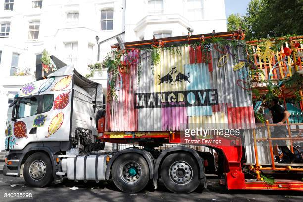 General view of the Red Bull Music Academy x Mangrove float at Notting Hill Carnival on August 28 2017 in London England