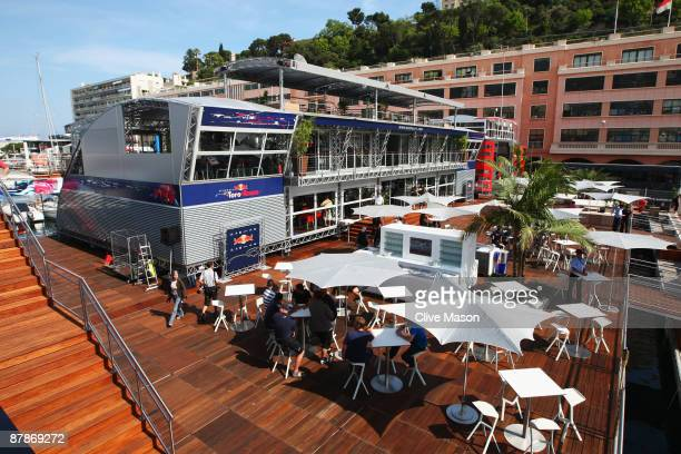 General view of the Red Bull Racing Energy Station hospitality centre is seen during previews to the Monaco Formula One Grand Prix at the Monte Carlo...