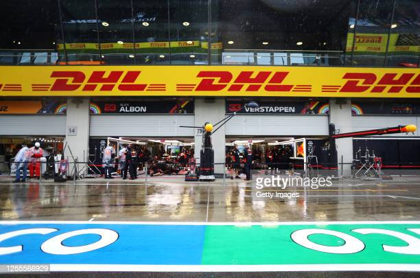 General view of the Red Bull Racing garage during final practice for the Formula One Grand Prix of Styria at Red Bull Ring on July 11, 2020 in...