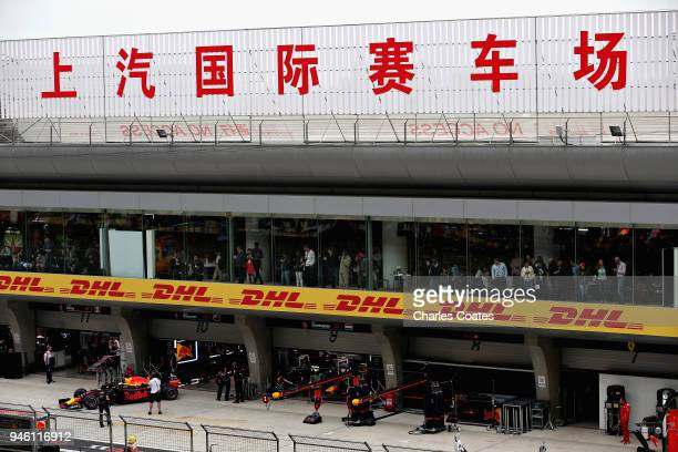 A general view of the Red Bull Racing garage during qualifying for the Formula One Grand Prix of China at Shanghai International Circuit on April 14...