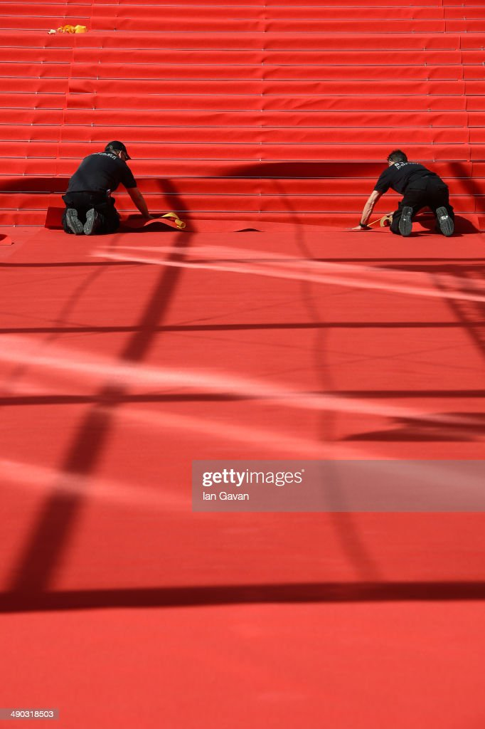 A general view of the red carpet ahead of the 67th Annual Cannes Film Festival on May 14, 2014 in Cannes, France.