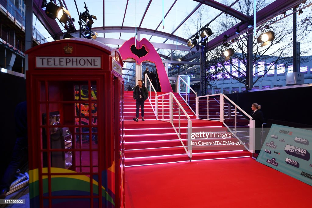 A general view of the red carpet ahead of the MTV EMAs 2017 on November 12, 2017 in London, England. The MTV EMAs 2017 is held at The SSE Arena, Wembley on November 12, 2017.