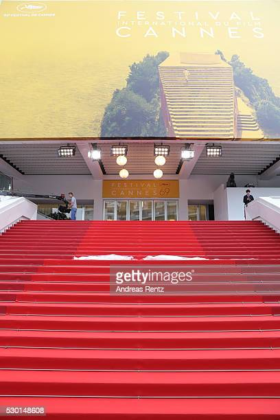 General view of the red carpet ahead the annual 69th Cannes Film Festival at Palais des Festivals on May 10 2016 in Cannes