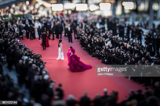 A general view of the red carpet at the screening of Ash Is The Purest White during the 71st annual Cannes Film Festival at Palais des Festivals on...