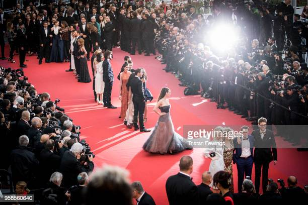 A general view of the red carpet at the screening of 'BlacKkKlansman' during the 71st annual Cannes Film Festival at Palais des Festivals on May 14...