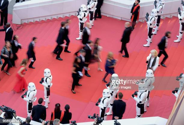 A general view of the red carpet at the screening of 'Solo A Star Wars Story' during the 71st annual Cannes Film Festival at Palais des Festivals on...