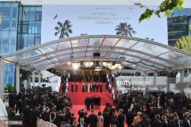 """General view of the red carpet during the """"Annette"""" screening and opening ceremony during the 74th annual Cannes Film Festival on July 06, 2021 in..."""