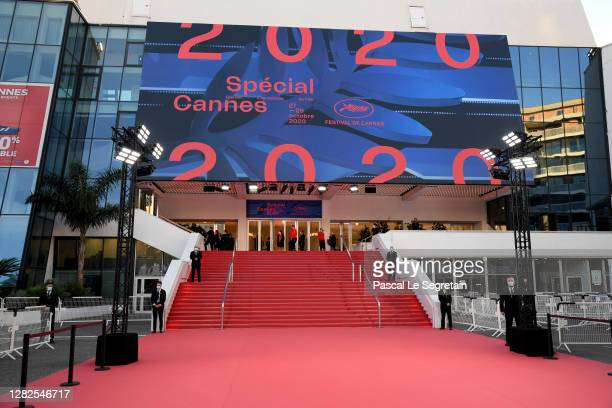 "General view of the red carpet is seen prior to the opening ceremony of the ""Special Cannes 2020 : Le Festival Revient Sur La Croisette !"" as part of..."