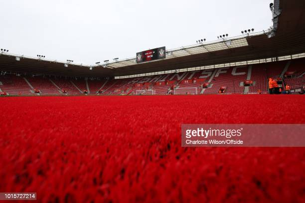 General view of the red carpeting that surrounds the pitch at St Marys Stadium during the Premier League match between Southampton FC and Burnley FC...