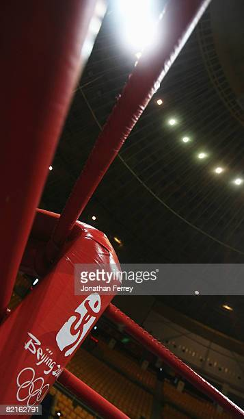 A general view of the red corner of the boxing ring is seen inside the Beijing Workers' Gymnasium ahead of the Beijing 2008 Olympic Games on August 3...