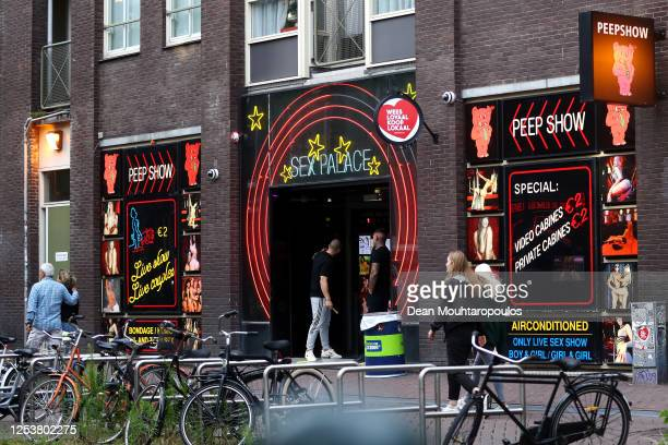 A general view of the Red Light District as it reopens after the Coronavirus or Covid19 Lockdown on July 01 2020 in Amsterdam Netherlands Prime...