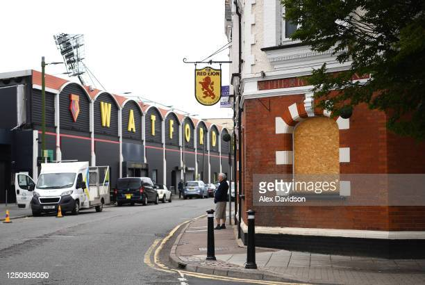 General view of The Red Lion Pub outside the stadium prior to the Premier League match between Watford FC and Leicester City at Vicarage Road on June...