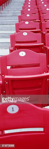 General view of the red seat section, starting with row number one, at Great American Ball Park, prior to a game between the Houston Astros and the...