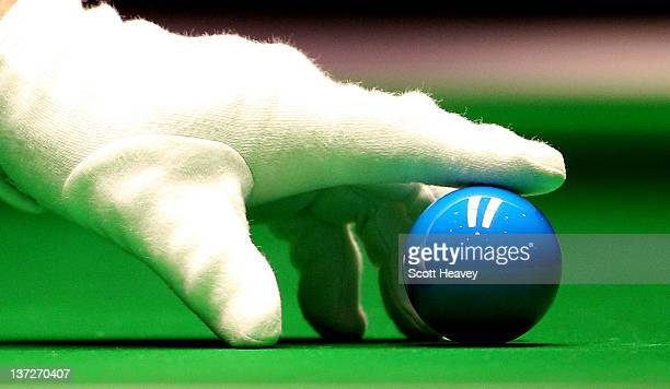 General view of the referee's glove positoning the blue ball during day four of The Masters at Alexandra Palace on January 18, 2012 in London,...