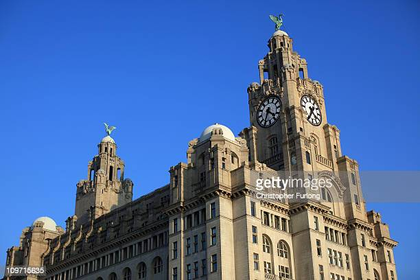 A general view of the refurbished Liverpool Water Front and The Liver Building on March 2 2011 in Liverpool England