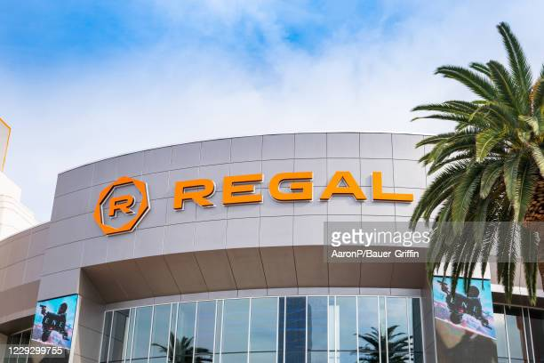 General view of the Regal Cinemas movie theater at the Irvine Spectrum Center shopping mall on October 26, 2020 in Irvine, California. It is one of...